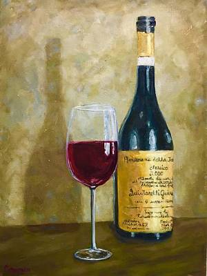 Italian Wine Painting - Flawless Red Original Wine Painting by Beth Capogrossi