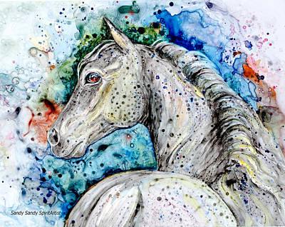 Painting - Flea Bitten Grey Horse Portrait by Sandy Sandy