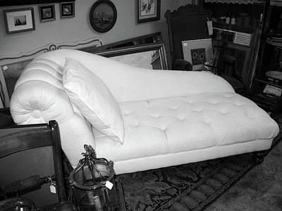 Photograph - Flea Market Chaise B W by Connie Fox