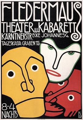 Mixed Media - Fledermaus - Theater U Kabarett - Vintage German Exposition Poster by Studio Grafiikka