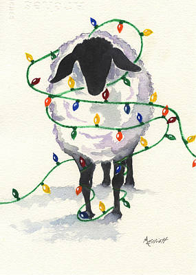 Sheep Painting - Fleece Navidad by Marsha Elliott