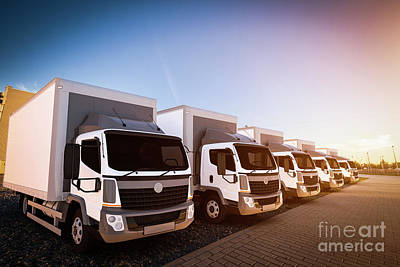 Photograph - Fleet Of Commercial Delivery Trucks On Cargo Parking by Michal Bednarek