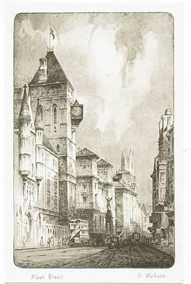 Streetscenes Drawing - Fleet  Street by F Hobson