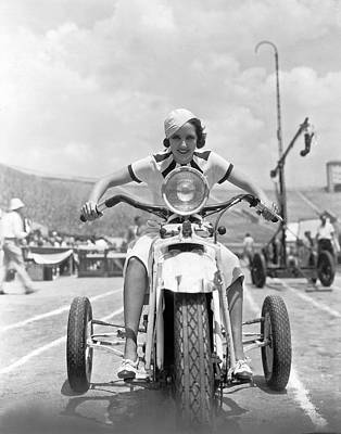 Wheeler Photograph - Fleming Rides Three Wheeler by Underwood Archives