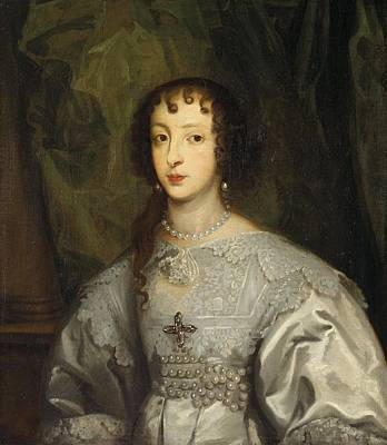 Cheerful Painting - Flemish School 17th Century Portrait Of Henrietta Maria Of France  Queen Of England by Henrietta Maria of France