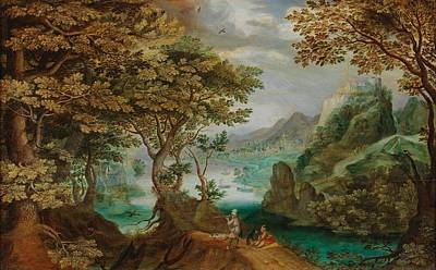 Landscapes Royalty-Free and Rights-Managed Images - Flemish School, second quarter of the 17th Century A wooded river landscape with the view of a town  by Flemish School  second quarter of the 17th Century A wooded river landscape with the view of a town