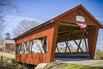 Music Royalty-Free and Rights-Managed Images - Fletcher Covered Bridge by Jack R Perry