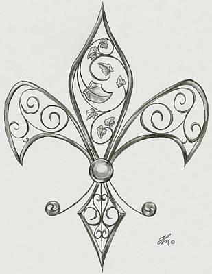 Fleur De Lis Drawing - Fleur De Iron by Fleur De Art