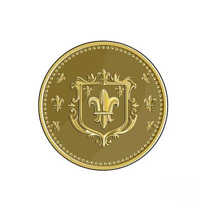 Fleur De Lis Digital Art - Fleur De Lis Coat Of Arms Gold Coin Retro by Aloysius Patrimonio