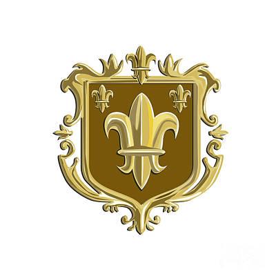 Fleur De Lis Digital Art - Fleur De Lis Coat Of Arms Gold Crest Retro by Aloysius Patrimonio
