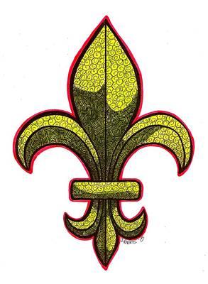 Fleur De Lis Drawing - Fleur De Lis Colorized by Jim Harris