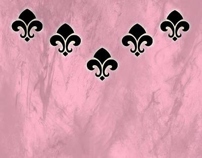 Fleur De Lis Digital Art - Fleur De Lis In Pink Texture by Kathy Bucari