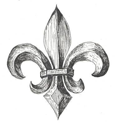 Fleur De Lis Drawing - Fleur De Lis by Lee Gray