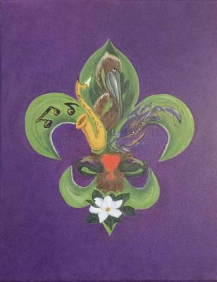 Animals Paintings - Fleur de Lis Purple Green and Gold by Judy Jones