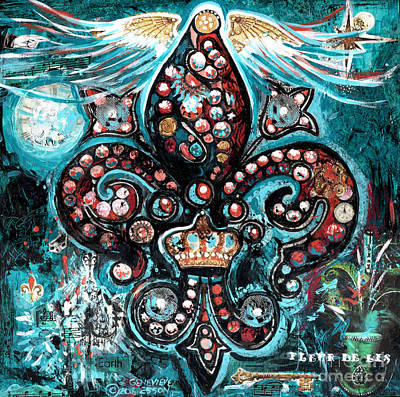 Art Print featuring the painting Fleur De Lis Steampunk Style by Genevieve Esson