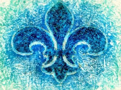 Digital Art - Fleur De Lis Turquoise - Par Le Mer by Janine Riley