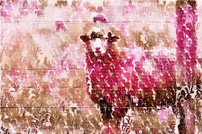 Mixed Media - Fleur De Sheep by Susan Maxwell Schmidt