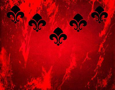 Fleur De Lis Digital Art - Fleur De Lis In Red by Kathy Bucari