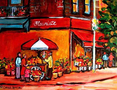 The Main Montreal Painting - Fleuriste Bernard Florist Montreal by Carole Spandau