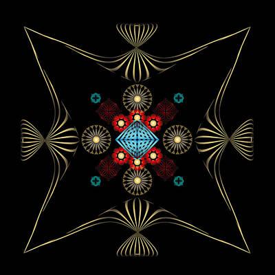 Print featuring the digital art Fleuron Composition No. 1 by Alan Bennington