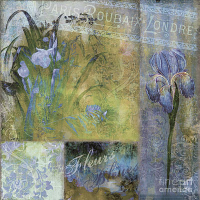 Blue Iris Painting - Fleurs Bleues I by Mindy Sommers
