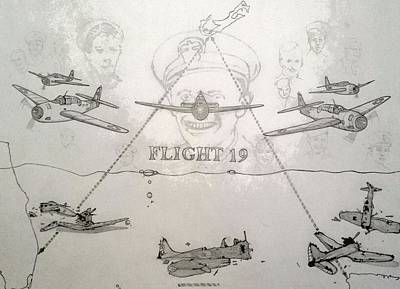 Puerto Rico Drawing - Flight 19 by Roesch