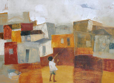 Children Flying Kite Painting - Flight by Alida Bothma