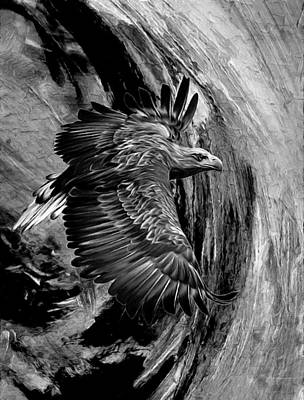 Abstract Realism Painting - Flight For Freedom Black And White by Georgiana Romanovna