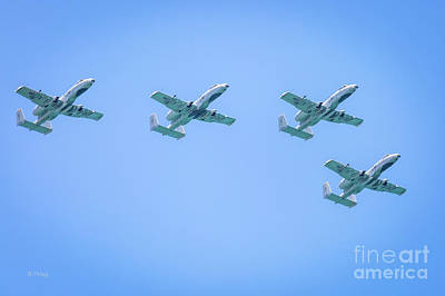 Photograph - Flight Formation Of A-10 Warthogs by Rene Triay Photography