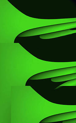Curvilinear Mixed Media - Flight - Green Version by Barry W King