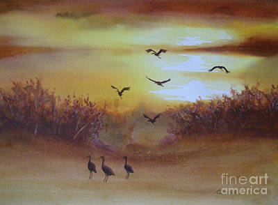 Painting - Flight Of Cranes by Teresa Boston