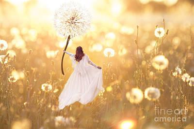Dandelion Digital Art - Flight Of Fancy by Linda Lees