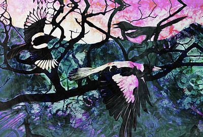 Magpies Mixed Media - Flight Of Fancy by Tuesday G