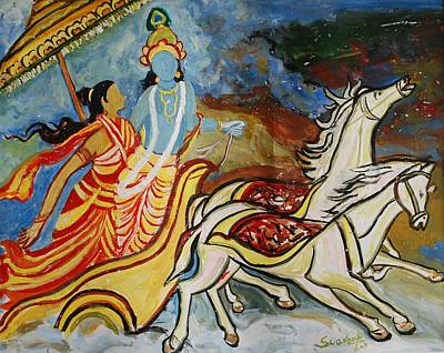 Painting - Flight Of Rukmini With Krishna by Anand Swaroop Manchiraju
