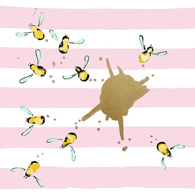 Bee Painting - Flight Of The Bumblebeee No 21 by Roleen Senic