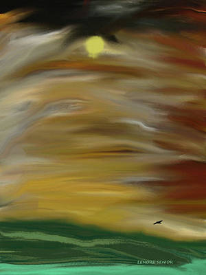 Soaring Painting - Flight Of The Crow by Lenore Senior
