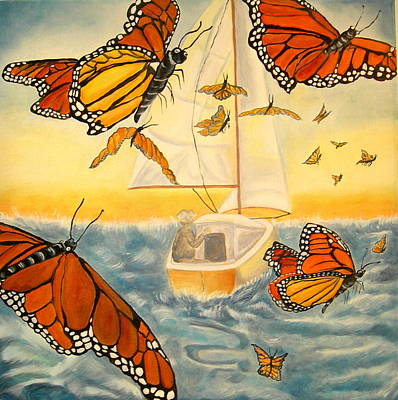 Painting - Flight Of The Monarchs by Kathern Welsh