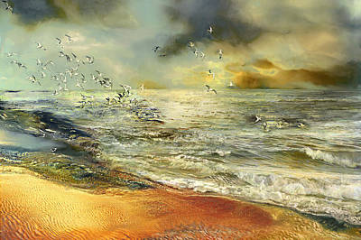 Atlantic Ocean Mixed Media - Flight Of The Seagulls by Anne Weirich