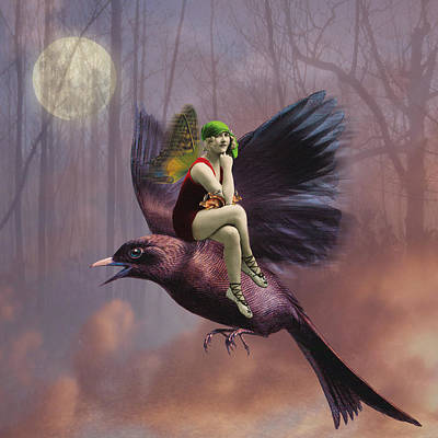 Moonlit Digital Art - Flight by Olga Snell
