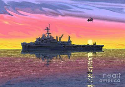 Flight Ops At Sunset Art Print by Donald Maier