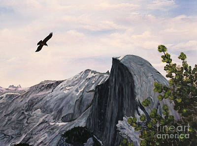 Art Print featuring the painting Flight Over Yosemite by Judy Filarecki