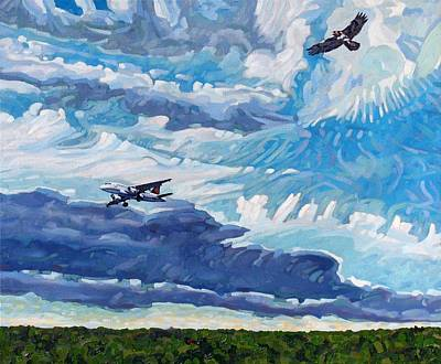 Red Tail Hawks Painting - Flight Paths by Phil Chadwick