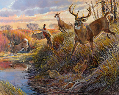 Whitetail Deer Wall Art - Painting - Flight by Steve Spencer