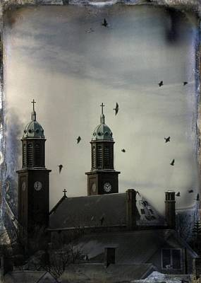 Surreal Art Mixed Media - Flight Through The Steeples by Gothicrow Images
