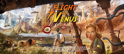 Science Fiction Mixed Media - Flight to Venus fake Movie Poster by Luis Peres