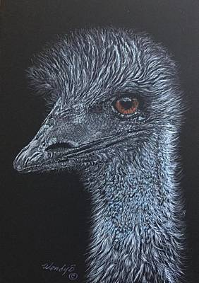 Emu Drawing - Flightless by Wendy Brunell