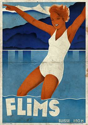 Mixed Media - Flims - Switzerland - Folded by Vintage Advertising Posters