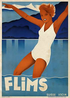 Mixed Media - Flims - Switzerland - Vintagelized by Vintage Advertising Posters