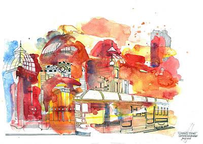 Painting - Flinders Street Melbourne by Julia Zoellner