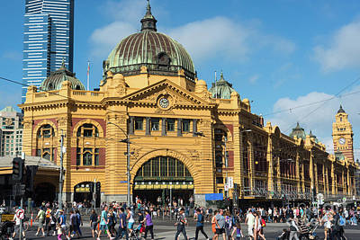 Photograph - Flinders Street Railway Station by Andrew Michael
